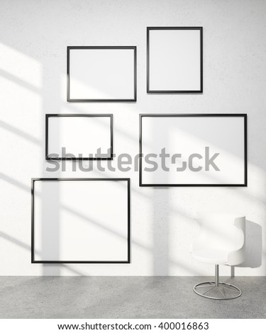 Five frames of different sizes on white wall, white armchair. Concept of exhibition. Mock up. 3D rendering