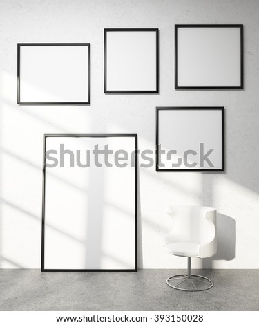 Five frames on white wall, white armchair. Concept of exhibition. Mock up. 3D render. - stock photo