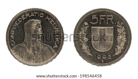 five francs coin closeup isolated on white background - stock photo