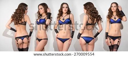 Five girls in beautiful lingerie - stock photo