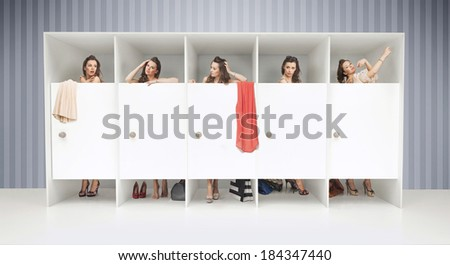 Five girls in changing rooms - stock photo