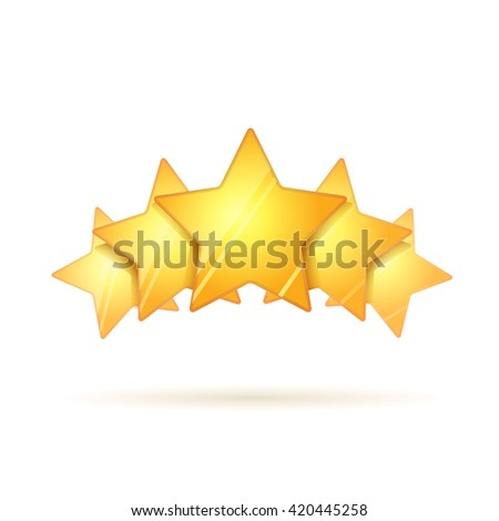 Five glossy golden rating stars with shadow isolated on white - stock photo