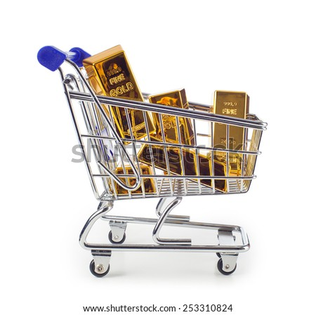 Five gold bars in shopping cart isolated on white background. - stock photo
