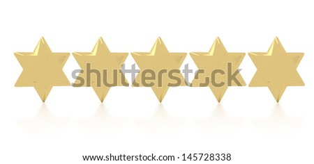 five gold stars concept of the best award - stock photo
