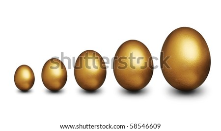 Five golden egg of various sizes representing financial security against a white background - stock photo