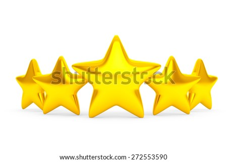 Five Golden Stars on a white background