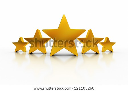 Five golden stars over white background with reflections representing excellence