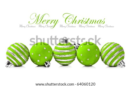 Five green christmas decoration ball on a white background with space for text