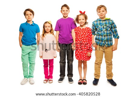 Five happy age-diverse friends standing in row - stock photo