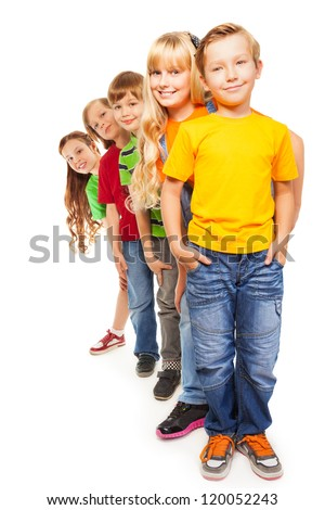 Five happy 8 years old boys and girls isolated on white and standing together one after another