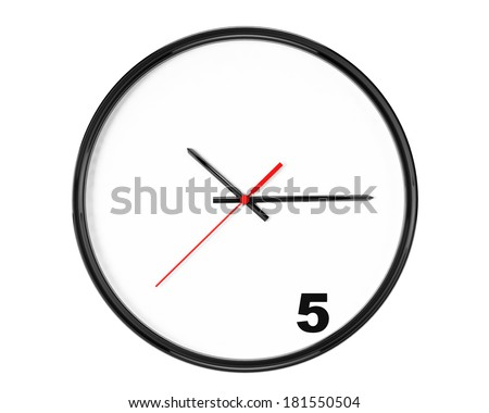 Five hours Concept. Clock with focus on 5 sign on a white background