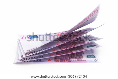 Five hundred euro banknotes (isolated on white and clipping path) - stock photo