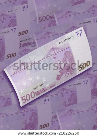 Five hundred euro bill collage in purple tone. Vertical format - stock photo