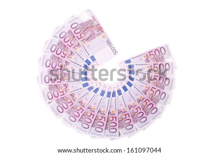 Five hundred Euro notes aligned in a fan. Isolated on a white background. - stock photo