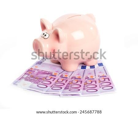 Five hundred euros bills and piggy bank - stock photo