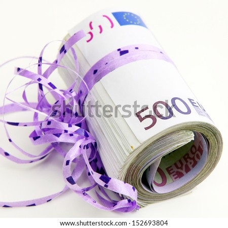Five hundreds as a gift - stock photo