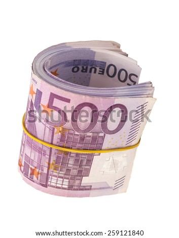 five hundredth banknotes under rubber band  - stock photo