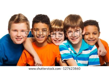 Five kids together close-up diversity portrait - stock photo