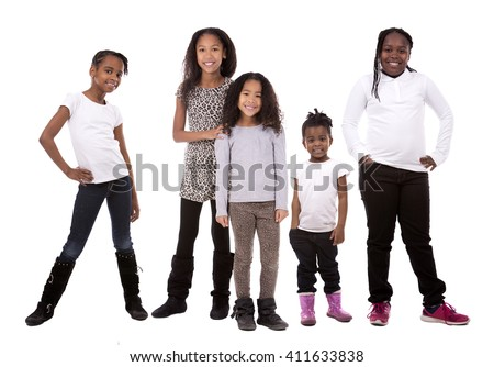 five kids wearing casual outfits on white background