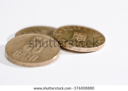 Five lei Romanian coins. Money. Currency.  - stock photo