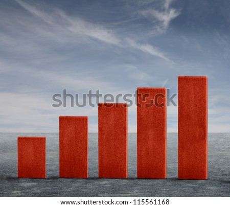 Five market analysis red blocks - stock photo