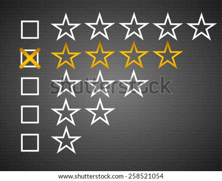 Five matted yellow web button stars ratings with reflection. Black background.. - stock photo