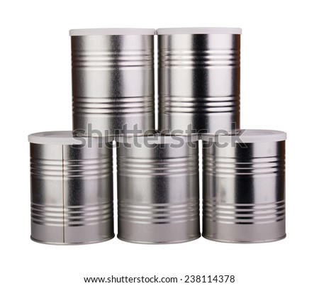 Five metal cans. Isolated on white background. - stock photo