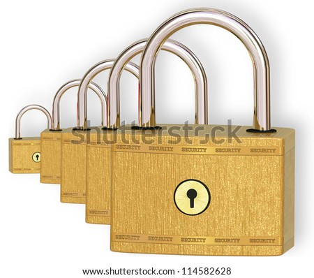 Five metal locks on a white background