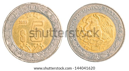 five mexican peso coin isolated on white background