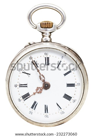 five minutes to eight o'clock on the dial of retro pocket watch isolated on white background - stock photo