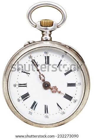 five minutes to four o'clock on the dial of retro pocket watch isolated on white background - stock photo