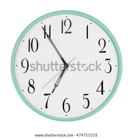 Five minutes to seven on a round clock