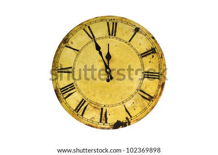 Five minutes to twelve on isolated vintage clock. - stock photo