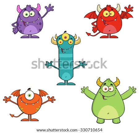 Five Monster Cartoon Characters Waving. Raster Collection Set - stock photo