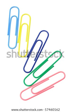 Five multicolor paper clips on white background - stock photo