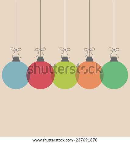 Five multicolored simple Christmas balls with bows isolated on beige background