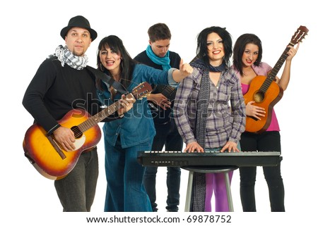 Five musicians group playing musical instruments in a concert isolated on white background - stock photo