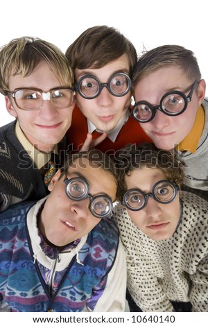 Five nerdy guys in funny glasses, smiling and looking at camera. Front view, white background - stock photo