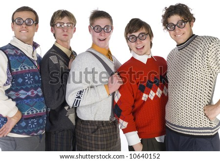Five nerdy guys in funny glasses, smiling and looking at camera. They are looking very proud. Front view, white background - stock photo