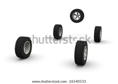 Five new off-road car wheels isolated on the white background. Side view - stock photo