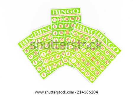 five of bingo card, center one got higher isolated on white background - stock photo