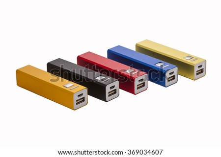 Five of Power bank for charging mobile devices. Isolated over white