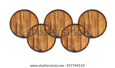Five old barrel isolated on white. - stock photo