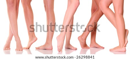 Five pairs female feet close up, isolated on a white background, please see some of my other parts of a body images: