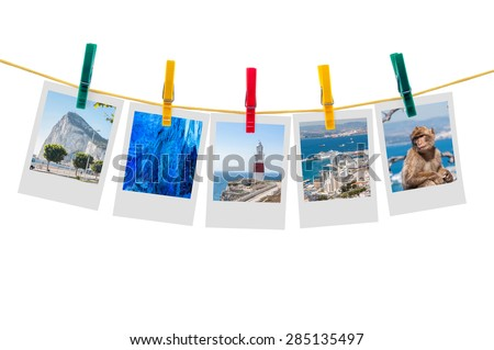 Five photos of Gibraltar on clothesline isolated on white background with clipping path