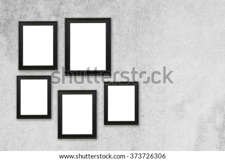 Five Picture Frame On Gray Concrete Stock Photo (Royalty Free ...