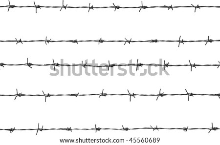 five pieces of barbed wire - stock photo