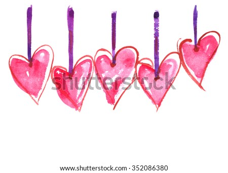 Five pink hearts hanging on ribbons painted in watercolor on white isolated background - stock photo