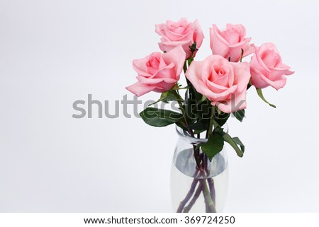 Five pink roses floral arrangement with stems and leaves in a clear glass vase with a white gray background. Bouquet of pink rose flowers in a glass vase on a empty background