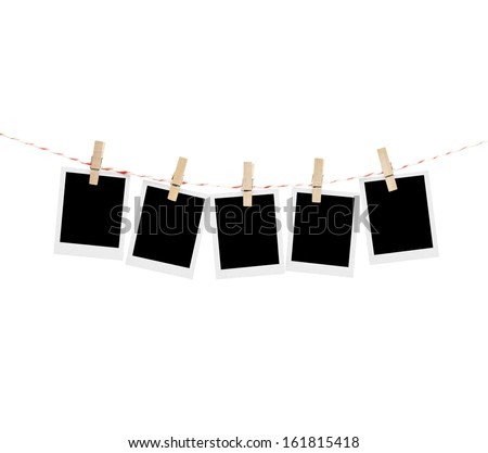 five polaroid photos hanging isolated on white - stock photo